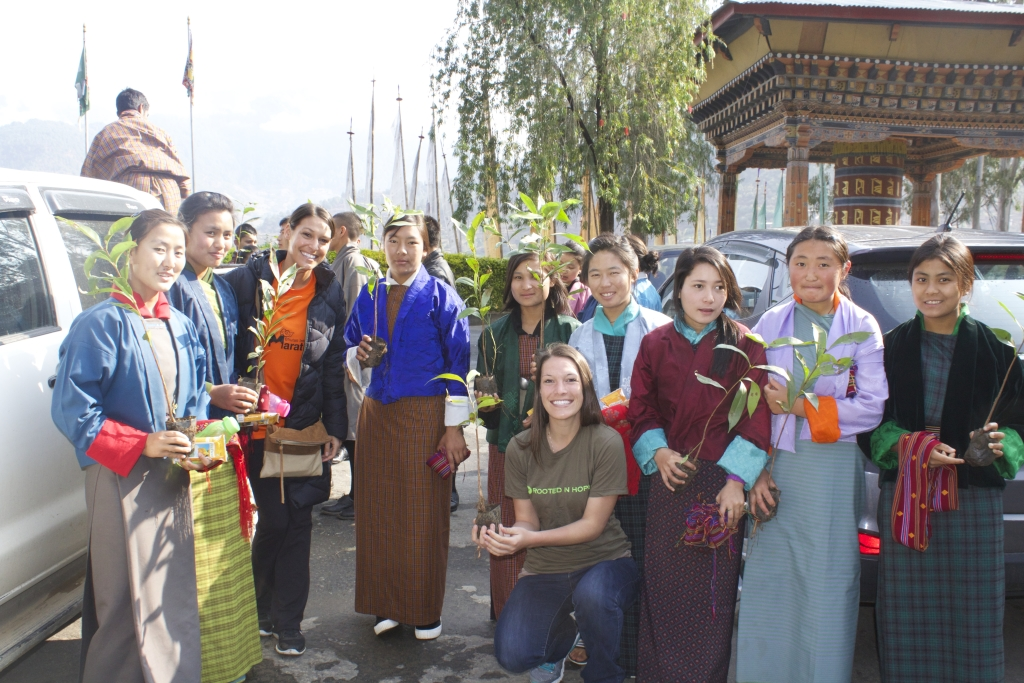 Students at Punakha High School plant 108 trees on March 7.